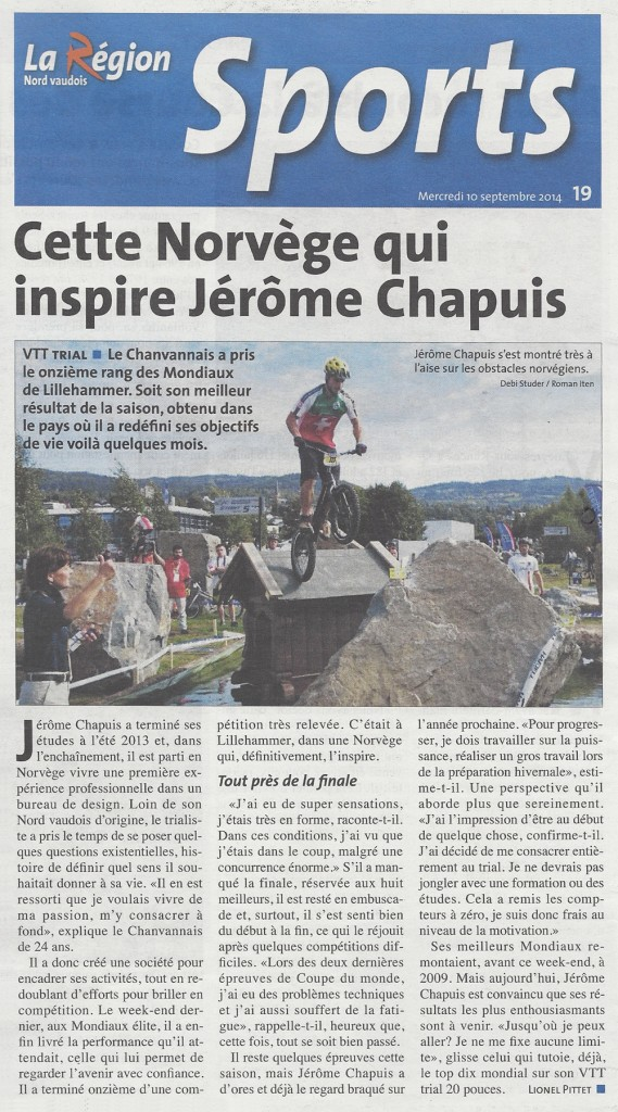 Jérôme Chapuis Article Newspaper World Championship Lillehammer Norway Trial